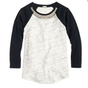 J. Crew Tops - •J. Crew• Jeweled Baseball T-Shirt